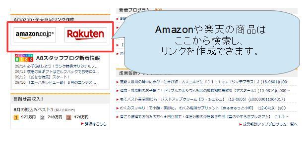 a8ネットでAmazonや楽天の商品を検索する使い方